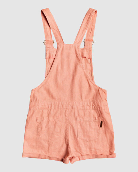 EARLY GREY LINEN DUNGAREE SHORTS