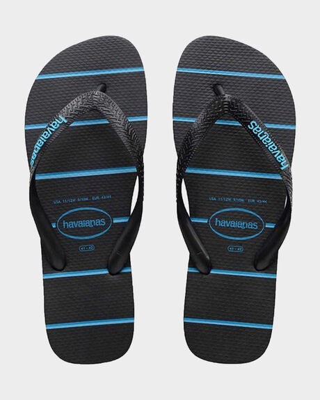 HAVAIANAS STRIPES BLACK/BLUE THONG