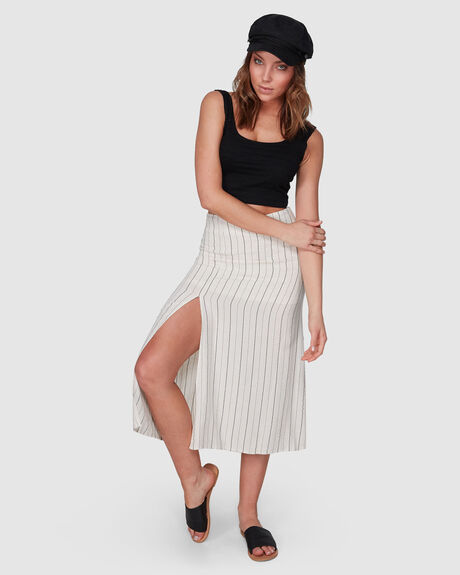 SLIT STRIPE MIDI SKIRT