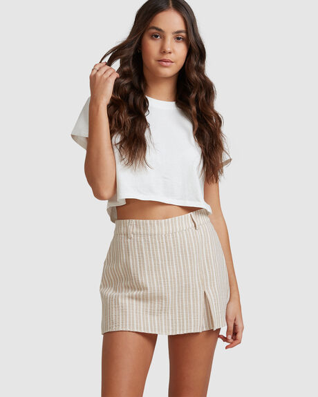 NOTCHED STRIPE SKORT