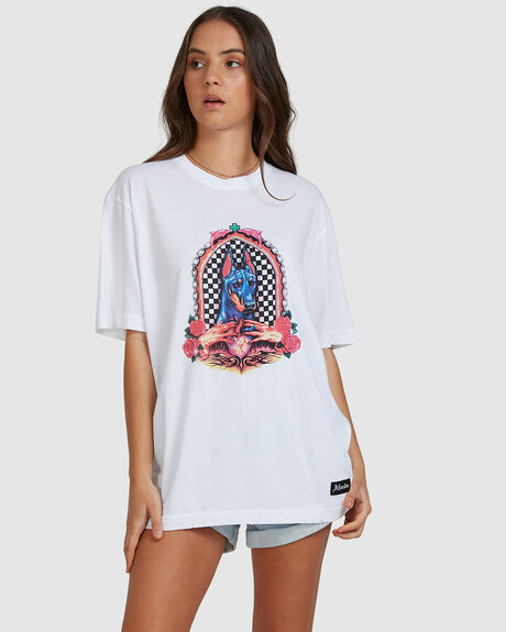 SHRINE - UNISEX RETRO FIT TEE - WHITE
