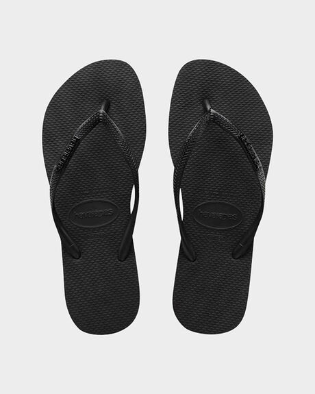HAVAIANAS SLIM METAL LOGO ROCK BLACK/BLACK THONG