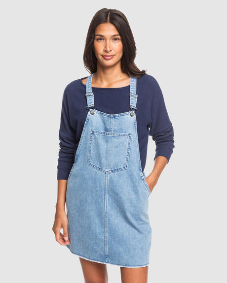 EARLY EVENING DENIM DUNGAREES DRESS