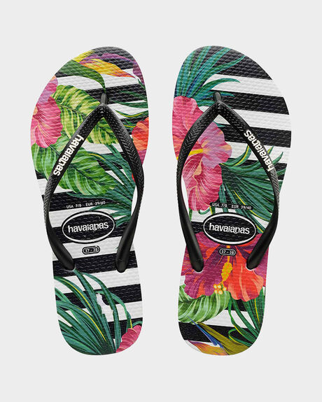 SLIM FLORAL TROPICAL STRIPES