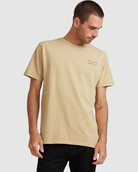 PALM STENCIL MERCH FIT TEE - FADED GOLD