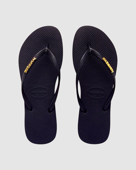 HAVAIANAS SLIM METAL LOGO BLACK/ GOLD THONG
