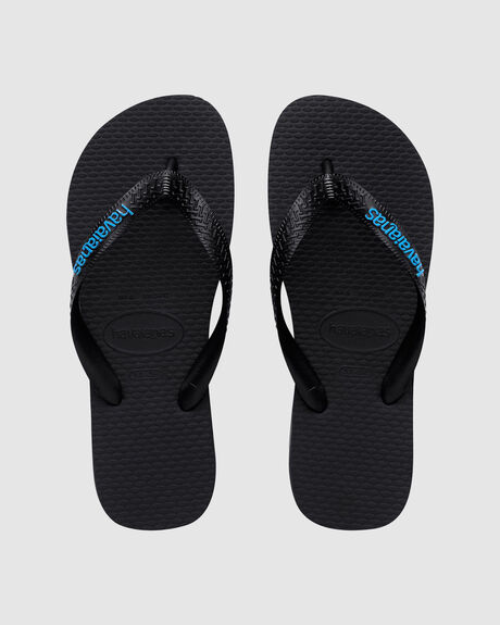 HAVAIANAS RUBBER LOGO BLACK/BLUE THONG