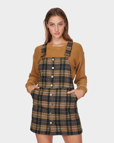 WOOLIES PLAID PINNY DRESS