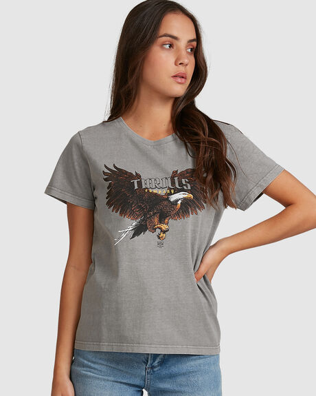 IN FLIGHT BAND TEE - WASHED GR