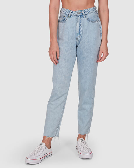 WOMENS HIGH MOMS REAL BLUE JEAN