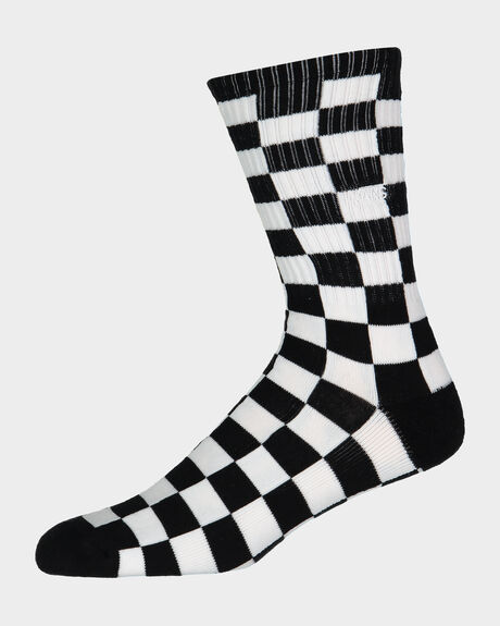 VANS CHECKERBOARD II CREW (SIZE 6.5-9) BLACK WHITE SOCKS