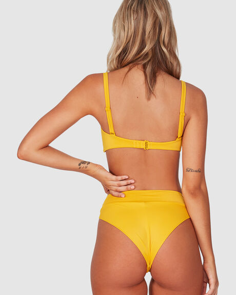 SOLID HIGH RISE CHEEKY BIKINI BOTTOM