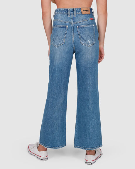 WOMENS HI BELLS CROPPED FLARED JEAN