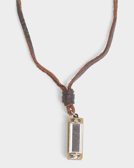 HARMONICA NECKLACE ON LEATHER