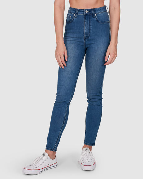 WOMENS HIGH LICKS CROP STELLAR BLUE JEAN