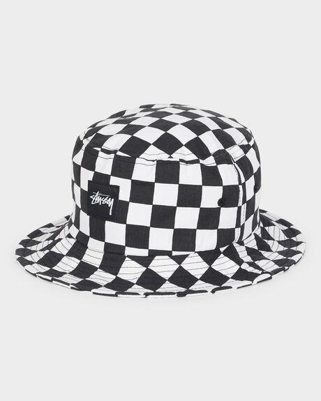 e218ffac891d8 Black white CHECKERBOARD BUCKET HAT