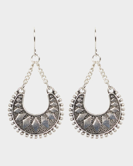 DIAMOND PATTERN EARRINGS - ANTIQUE SILVER