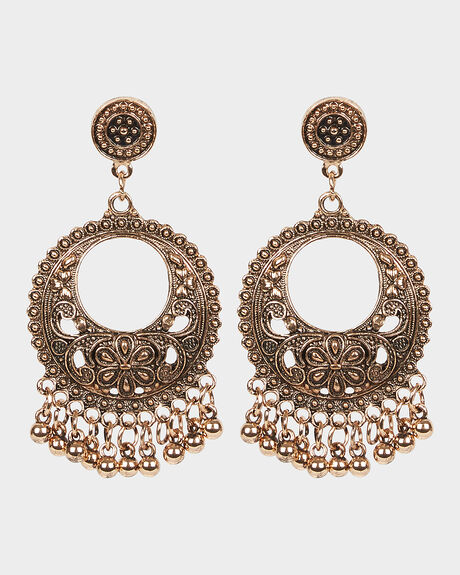 MULTI BALL BOHO EARRINGS - ANTIQUE GOLD
