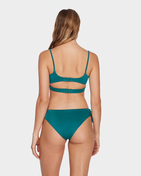 SOLID SHIMMER LACE UP BIKINI BOTTOM