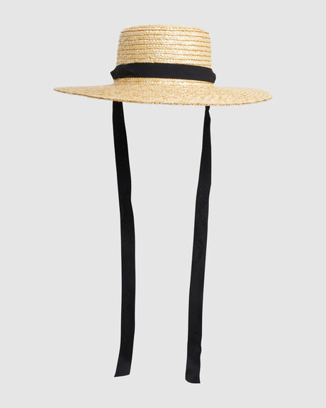 STRAW BOATER TIE HAT