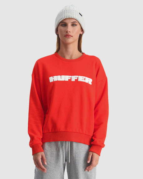 WOMENS SLOUCH CREW/HFR CARDINAL