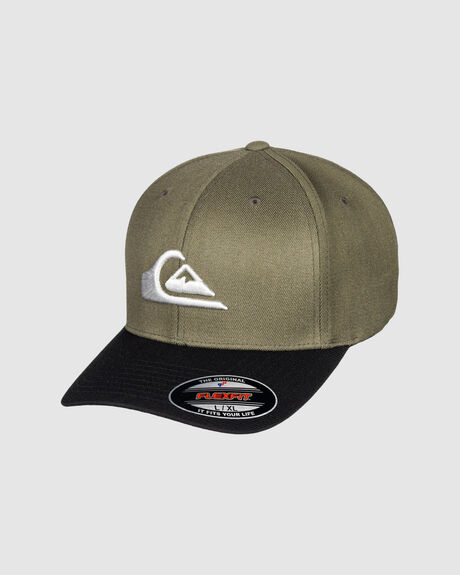 MENS MOUNTAIN & WAVE BLACK STRETCH FIT CAP