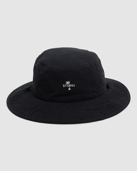 PALM EMBRO BOONIE HAT - BLACK